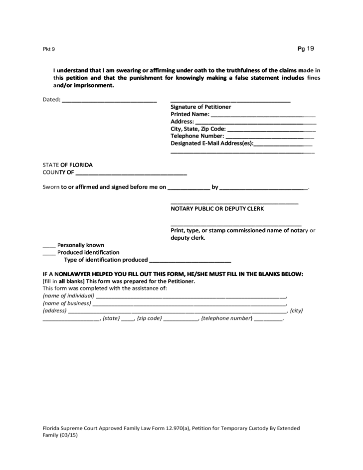 Forms For A Petition For Temporary Custody Florida Free