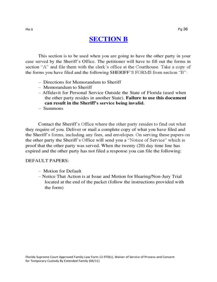 Forms For A Petition For Temporary Custody Florida Free Download - Law forms for personal use