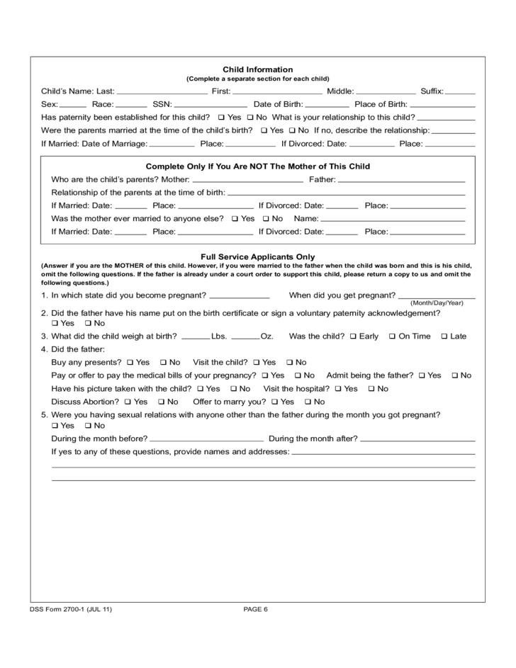 parent application for child support services
