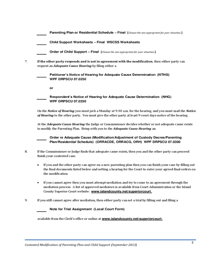 Contested Modifications Of Parenting Planand Child Support. 5 Contested Modifications Of Parenting Planand Child Support Washington. Worksheet. Washington State Child Support Worksheet At Mspartners.co