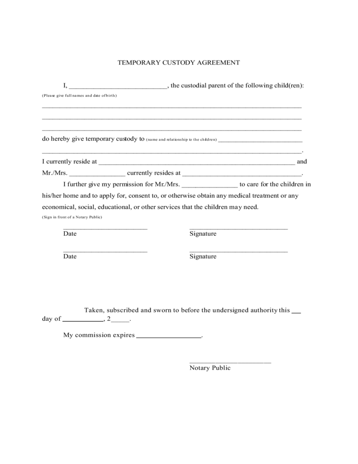 Temporary Custody Agreement Free Download