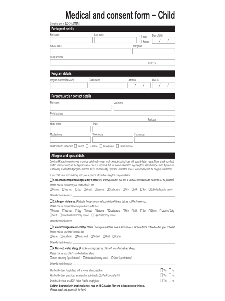 Medical and Consent Form - Child