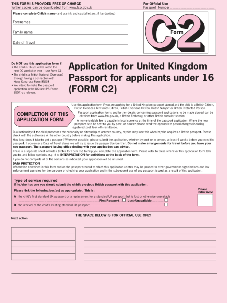 Application for United Kingdom Passport for applicants under 16