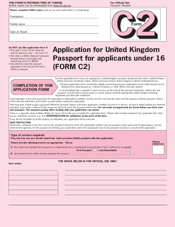 Application For United Kingdom Passport For Applicants Under 16 Free