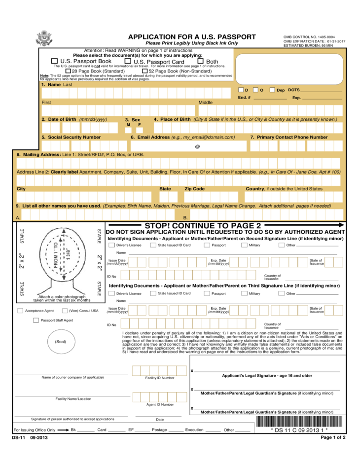 Application for a U.S. Passport Free Download