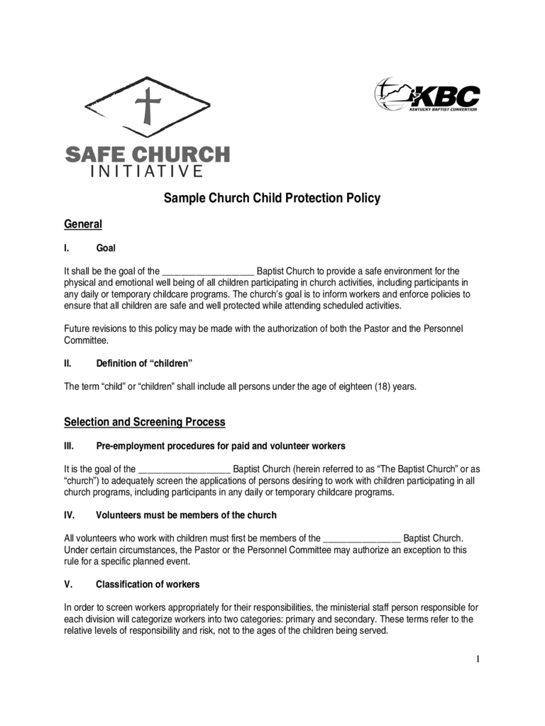 Sample Church Child Protection Policy