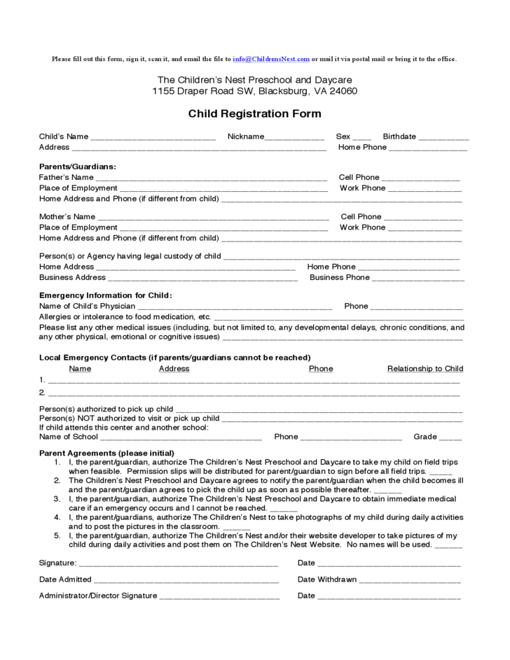 Child Registration Form - The Children's Nest Preschool and Daycare