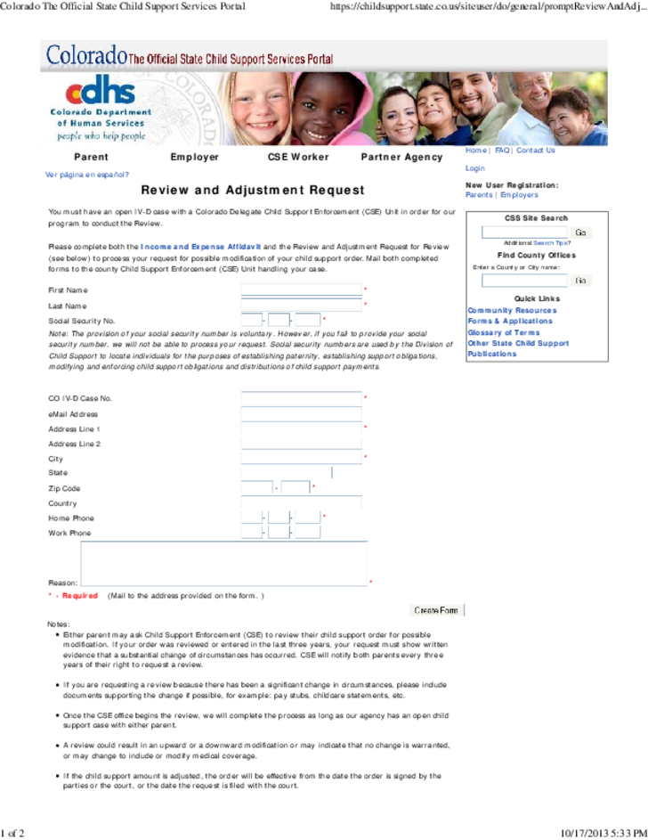 Child Support Order State Guide - Colorado