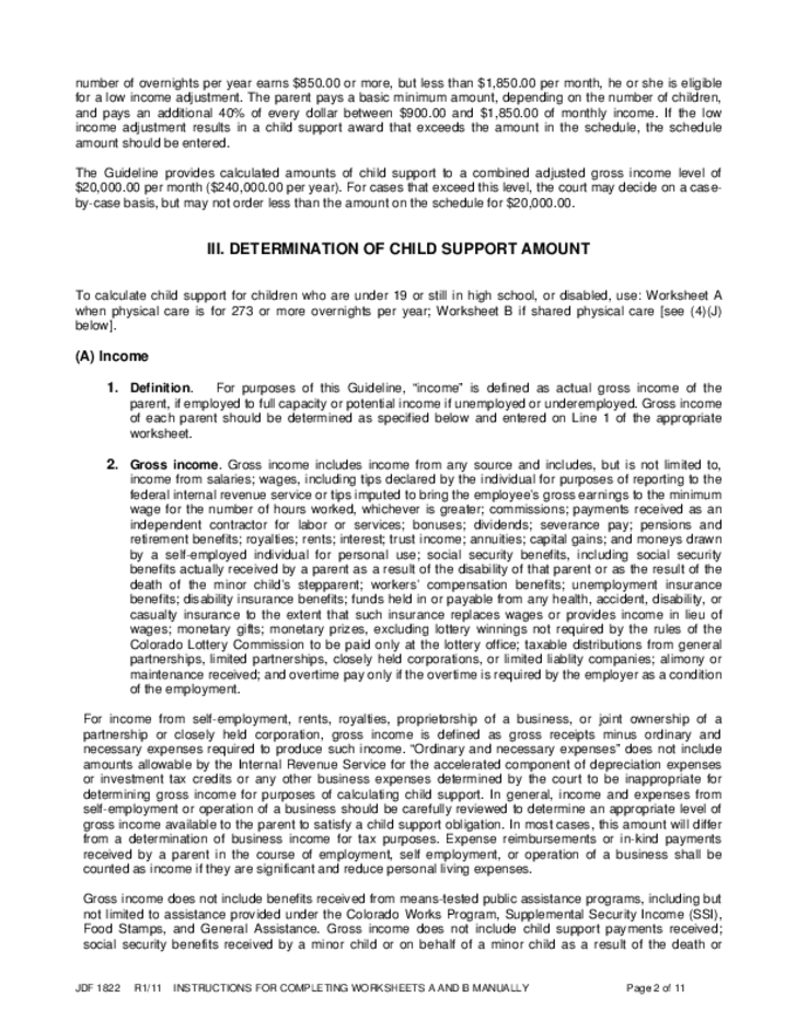 Child Support Guideline Colorado Free Download – Child Support Worksheet Colorado