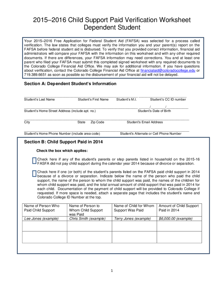Printables Colorado Child Support Worksheet child support paid verification worksheet colorado free download 1 colorado