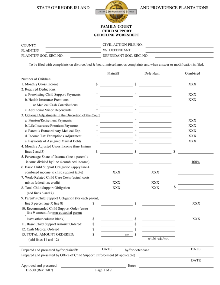 Printables Child Support Guidelines Worksheet child support guideline worksheet rhode island free download 1 island