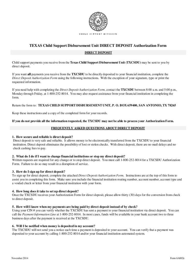Child Support Direct Deposit Authorization Form - Texas