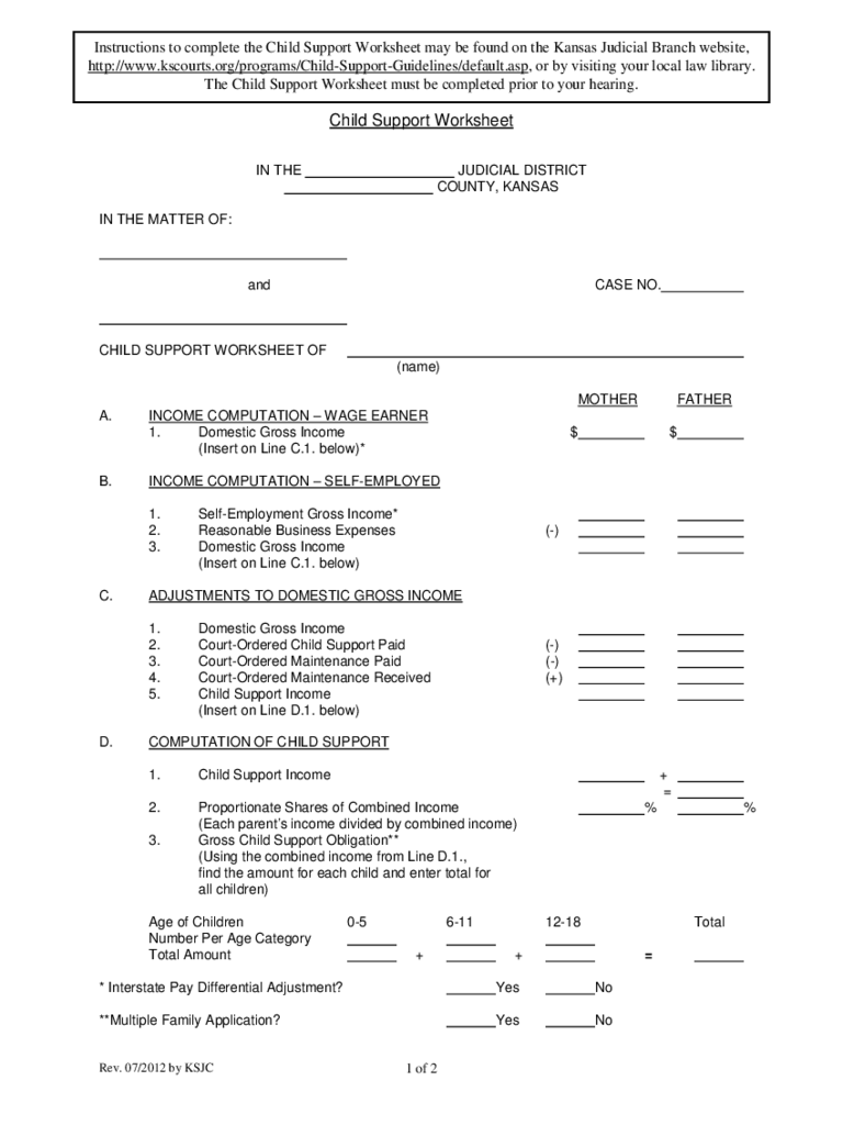 Child Support Worksheet Kansas Precommunity Printables Worksheets – Child Support Worksheet Washington