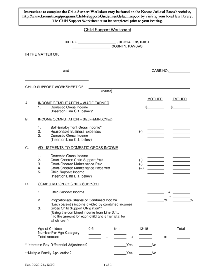 Printables Child Support Worksheet Kansas child support worksheet kansas free download 1 kansas