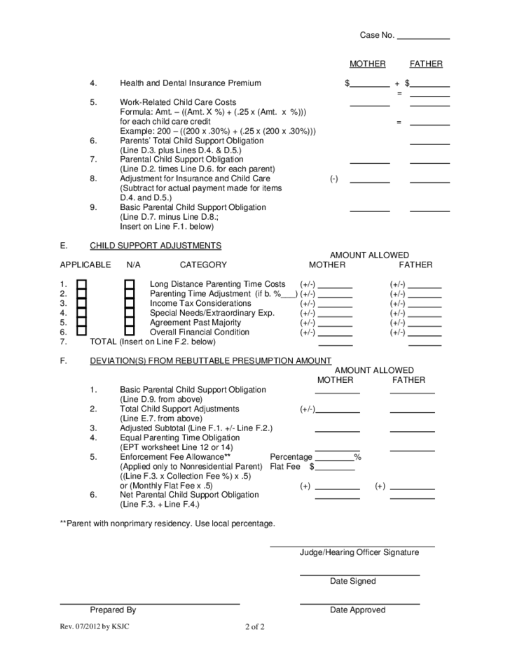 Child Support Worksheet - Kansas Free Download