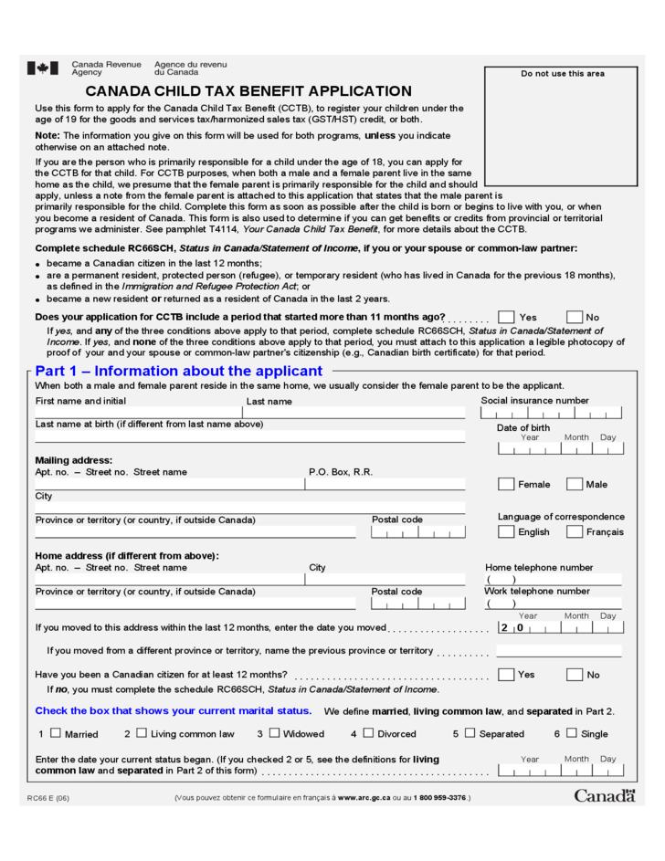 Child Benefit Form Tax 1 Child Tax Benefit Application Form - Canada