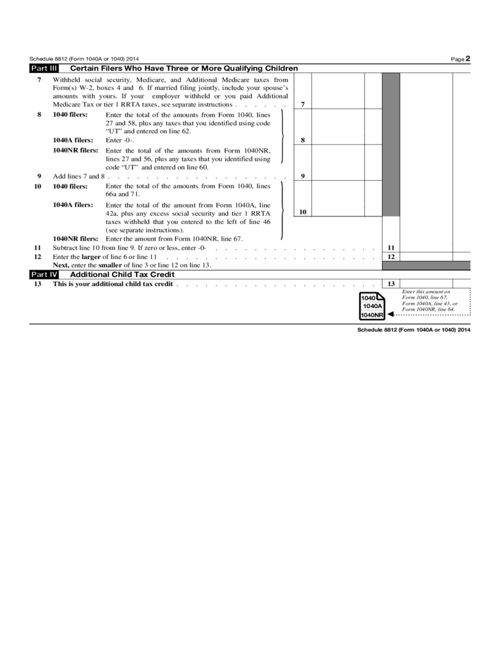 Child Tax Credits Form IRS Free Download – Form 8812 Worksheet