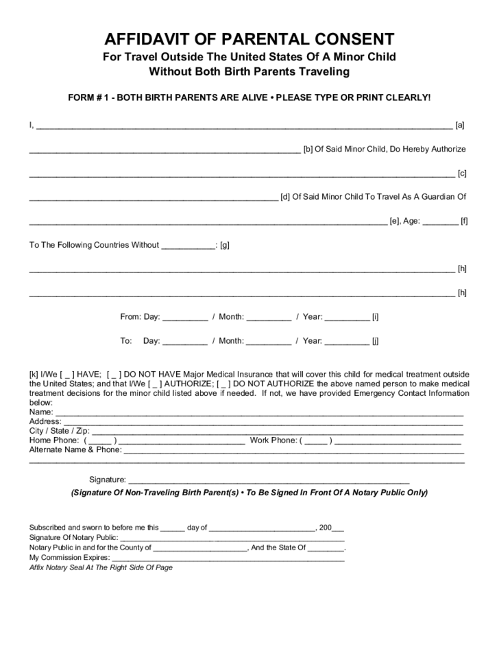 Parental Consent Form For Child Travel Free Download