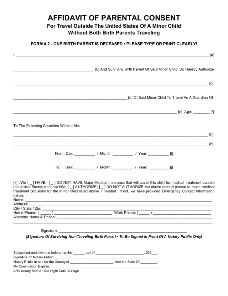 consent form template for children - parental consent form for child travel free download