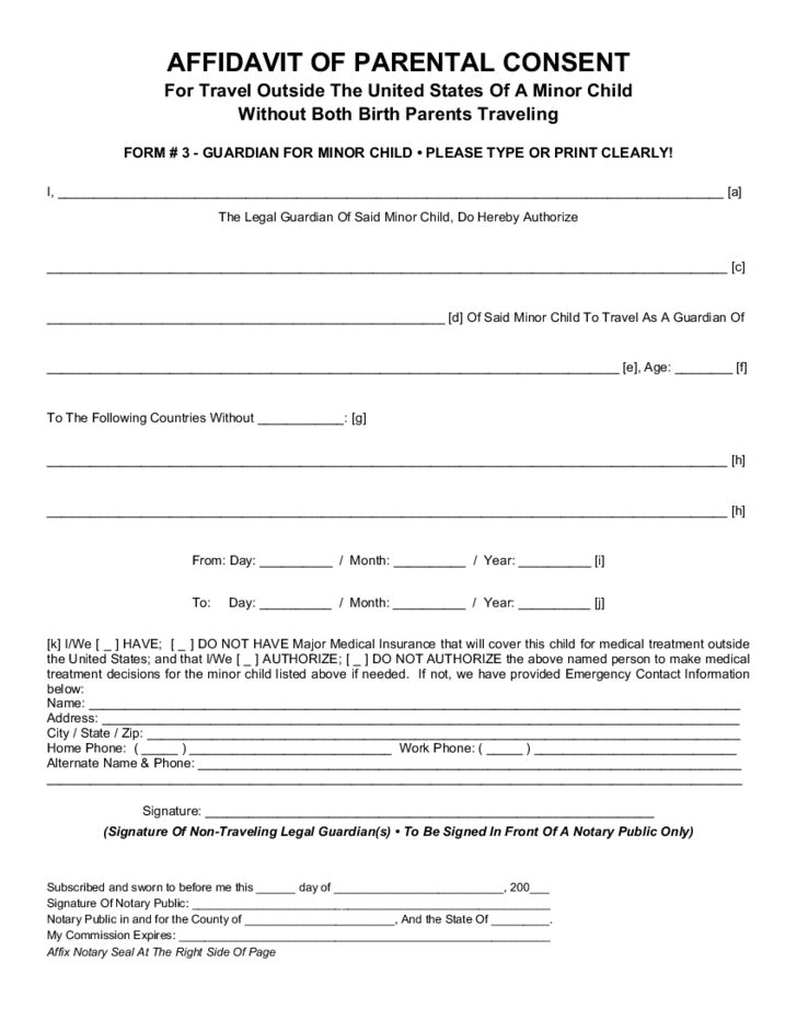 parental medical consent form template - parental consent form for child travel free download