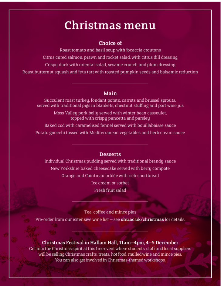 cool christmas menu template free download
