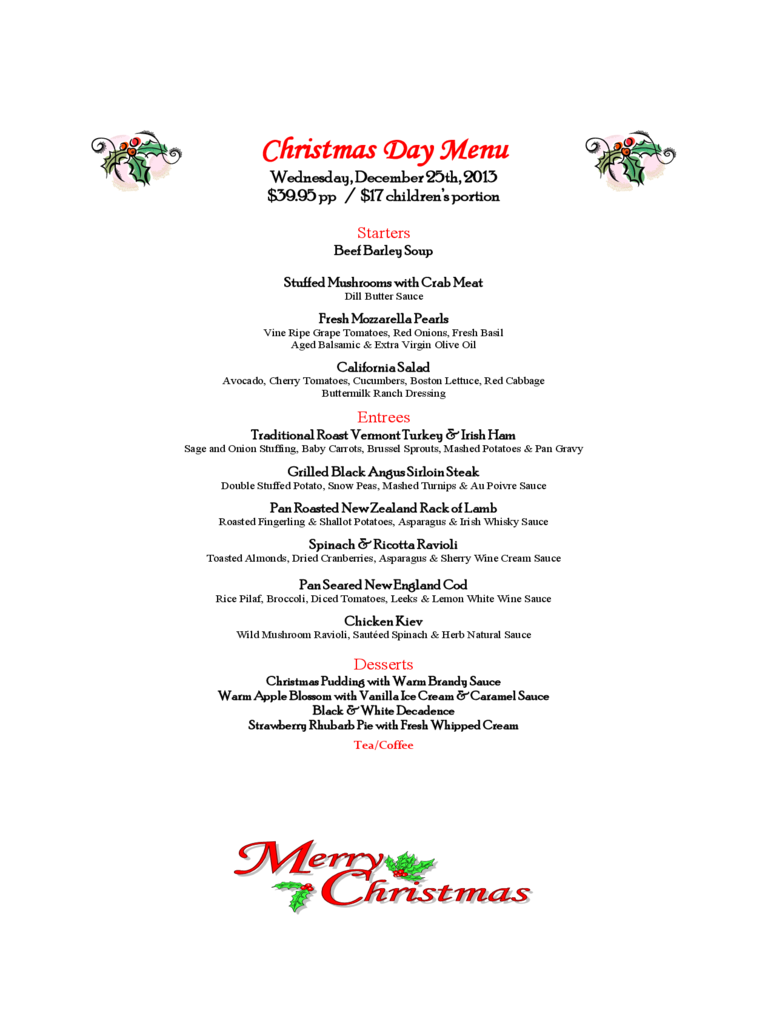Christmas Menu Template   17 Free Templates In PDF, Word, Excel Download  Free Word Menu Template