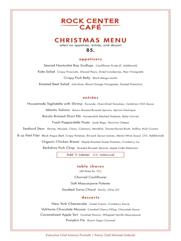 Christmas Menu At Rock Center Cafe