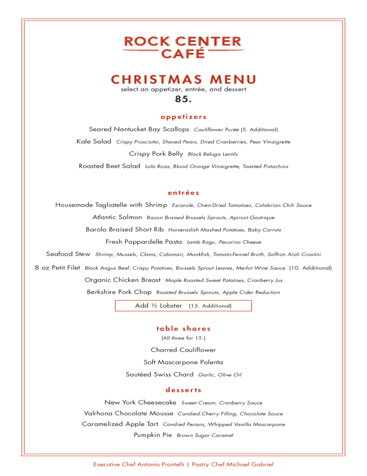 Rock Centre Cafe Christmas Menu