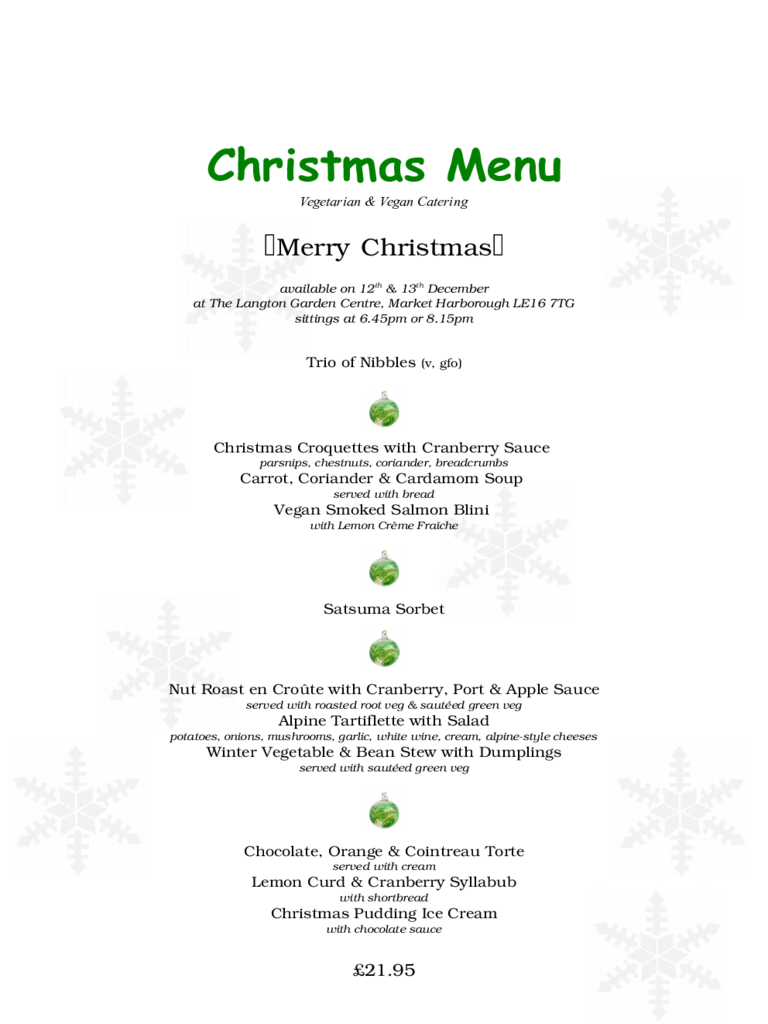 Sample Designed Christmas Menu Free Download