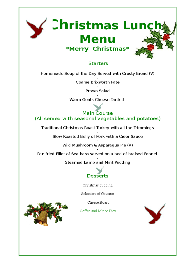 christmas menu template templates in pdf word excel designed christmas menu template