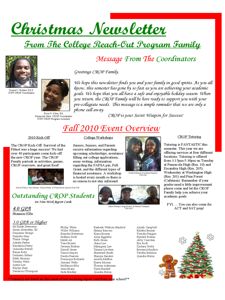 Christmas Newsletter Sample