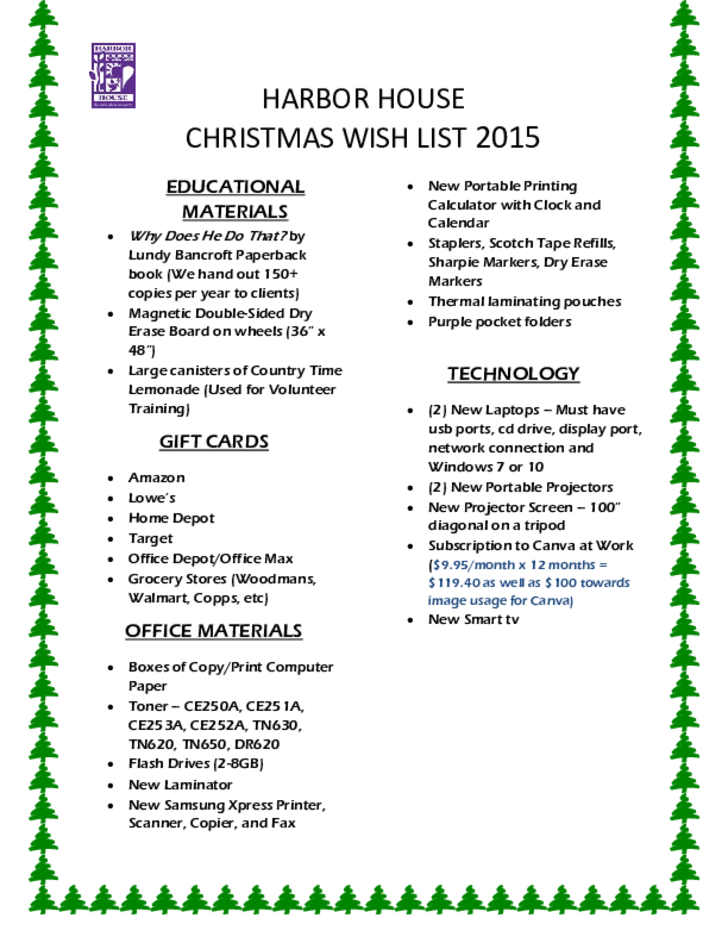 how to write a christmas wish list