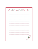 Blank Wish List for Christmas Free Download