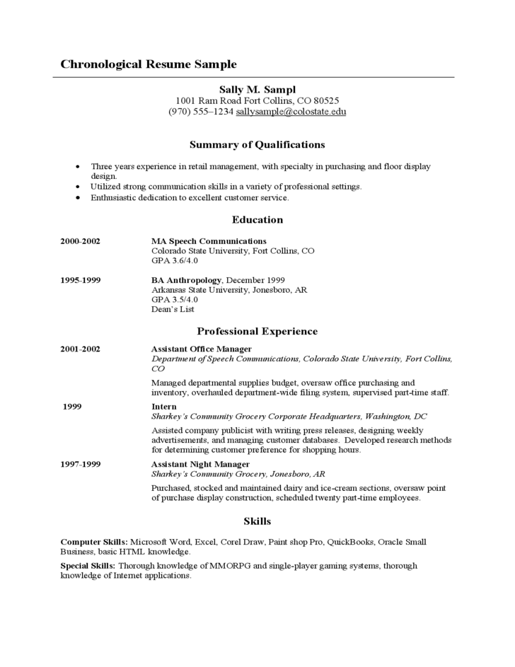 Sample Chronological Resume Free Download