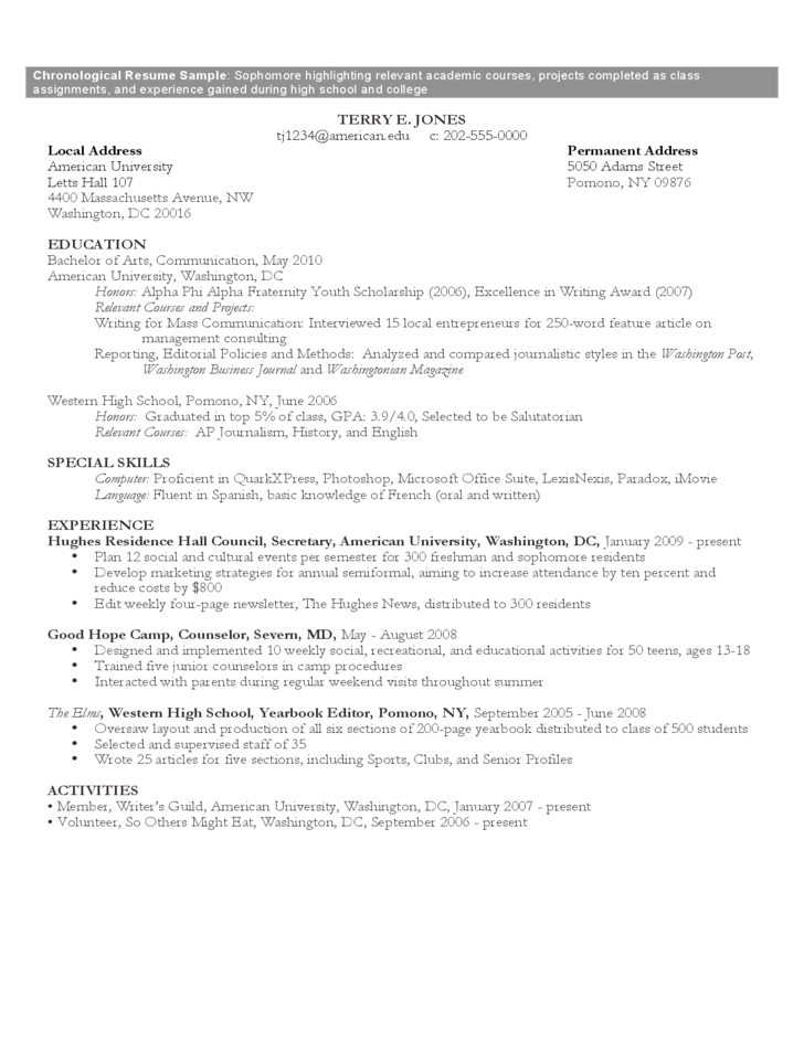 chronological resume sample format free download