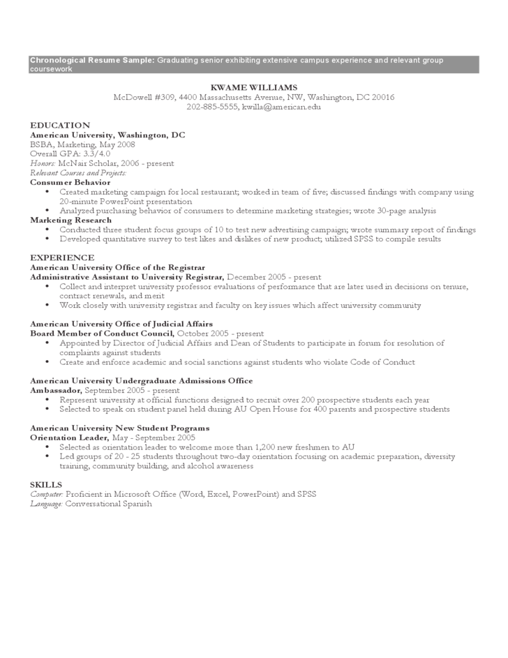 Resume template chronological format