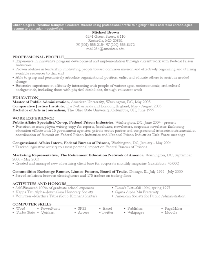 chronological resume template chronological resume sample format free 20852