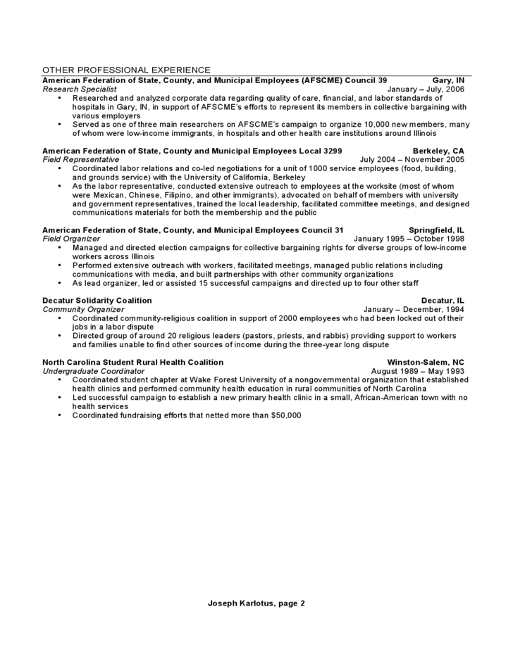 Format of chronological resume