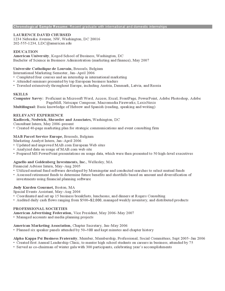 chronological format resume template