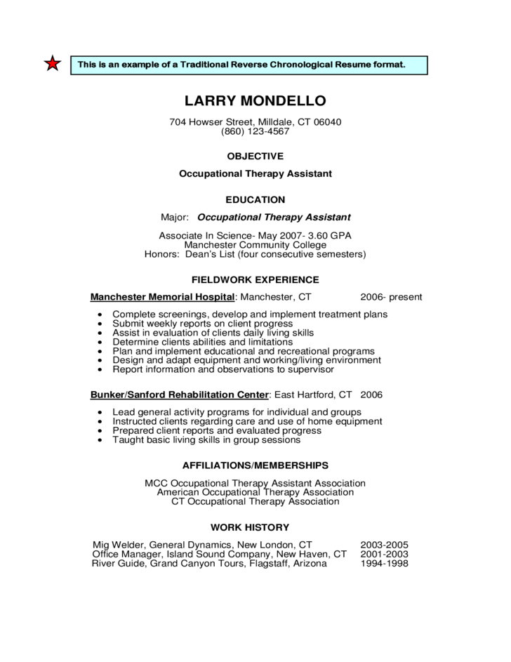 reverse chronological order resume template