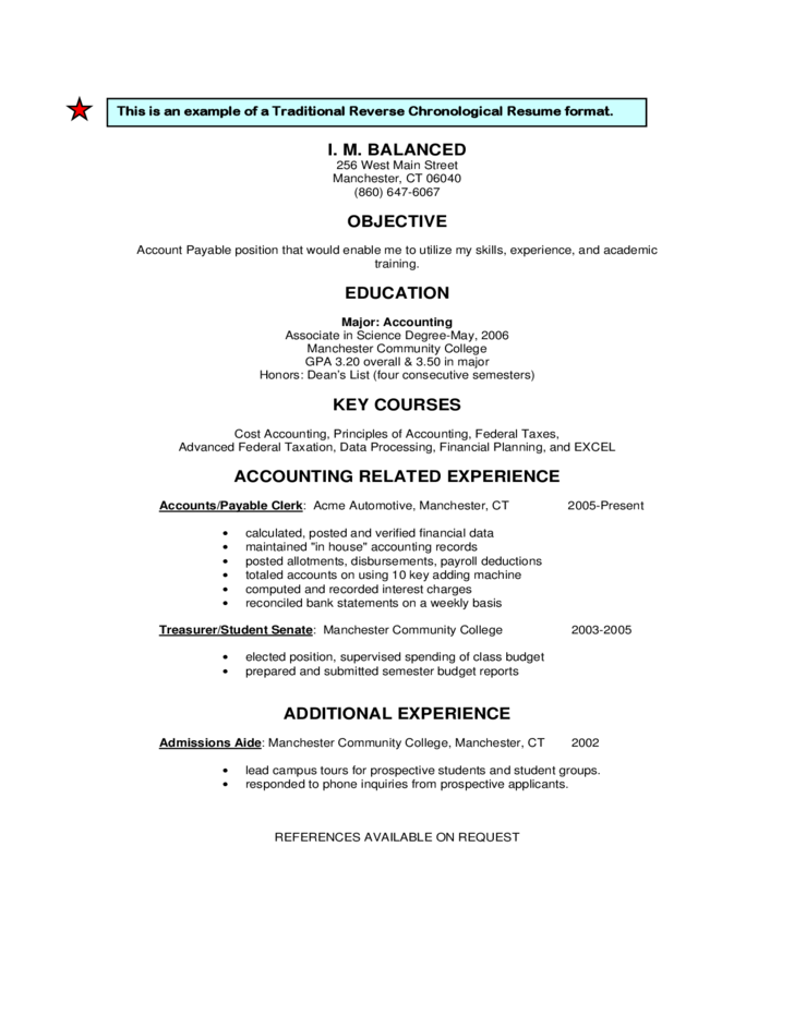 traditional or reverse chronological resume format free