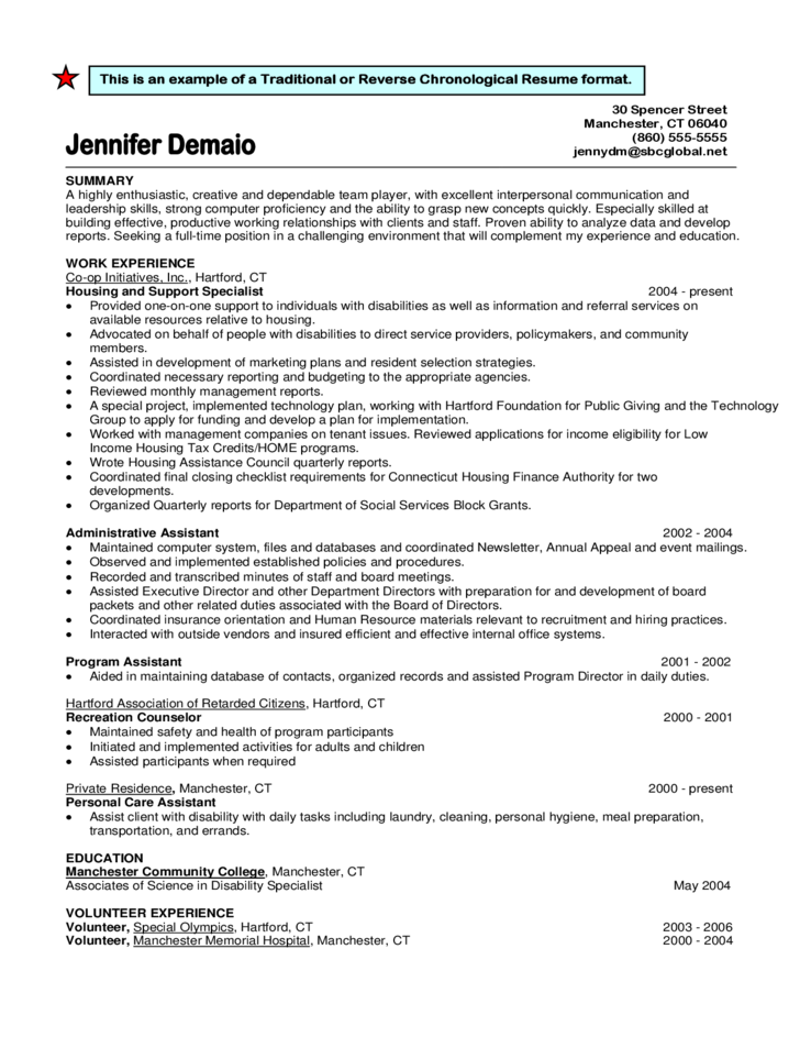 3 Traditional Or Reverse Chronological Resume Format