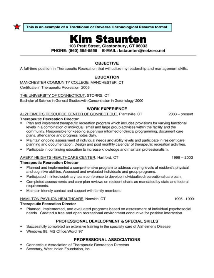 7 traditional or reverse chronological resume format