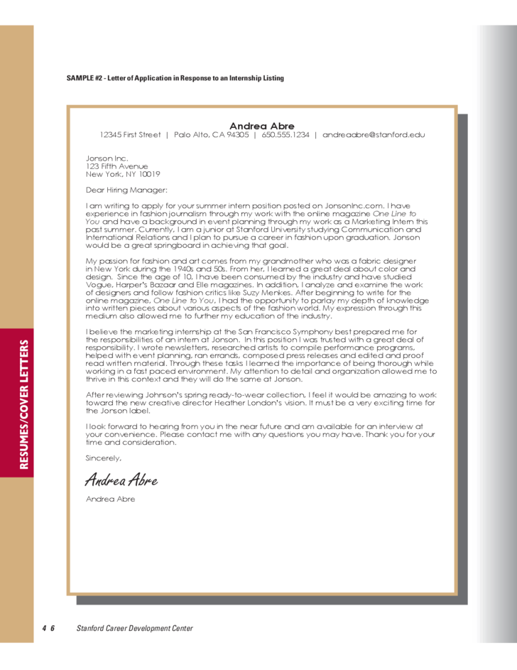 Stanford Career Development Center Cover Letter