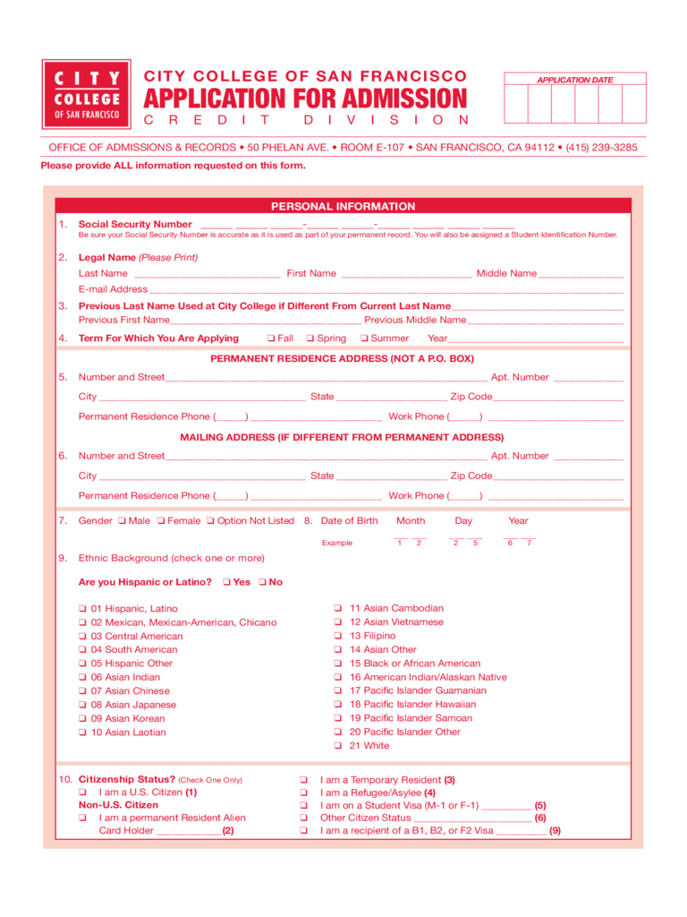 City College of San Francisco Application Form for Admission Free Download