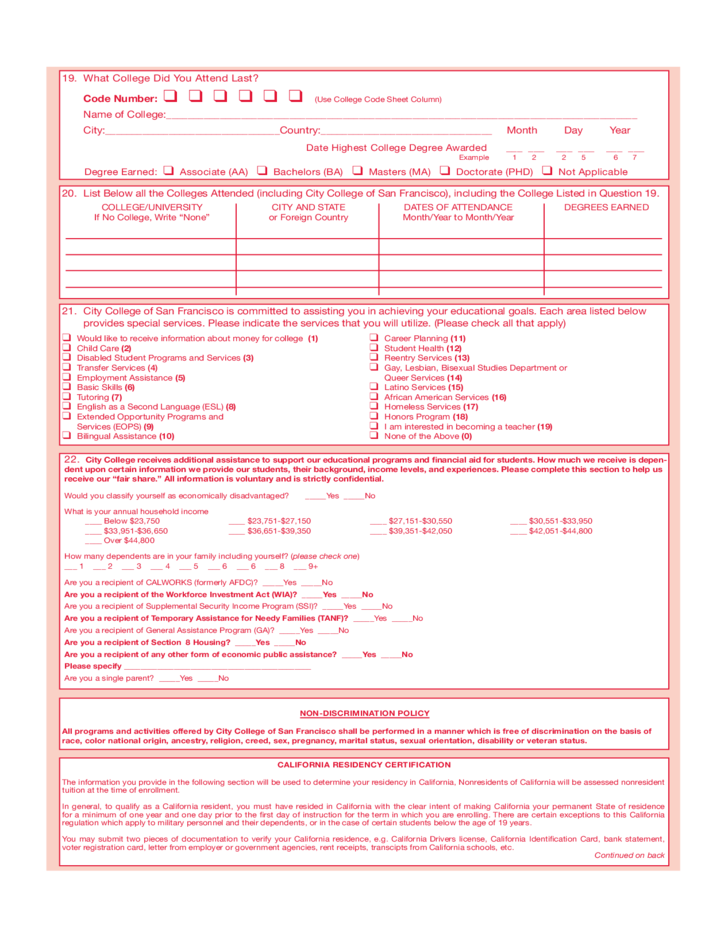 City College of San Francisco Application Form for Admission