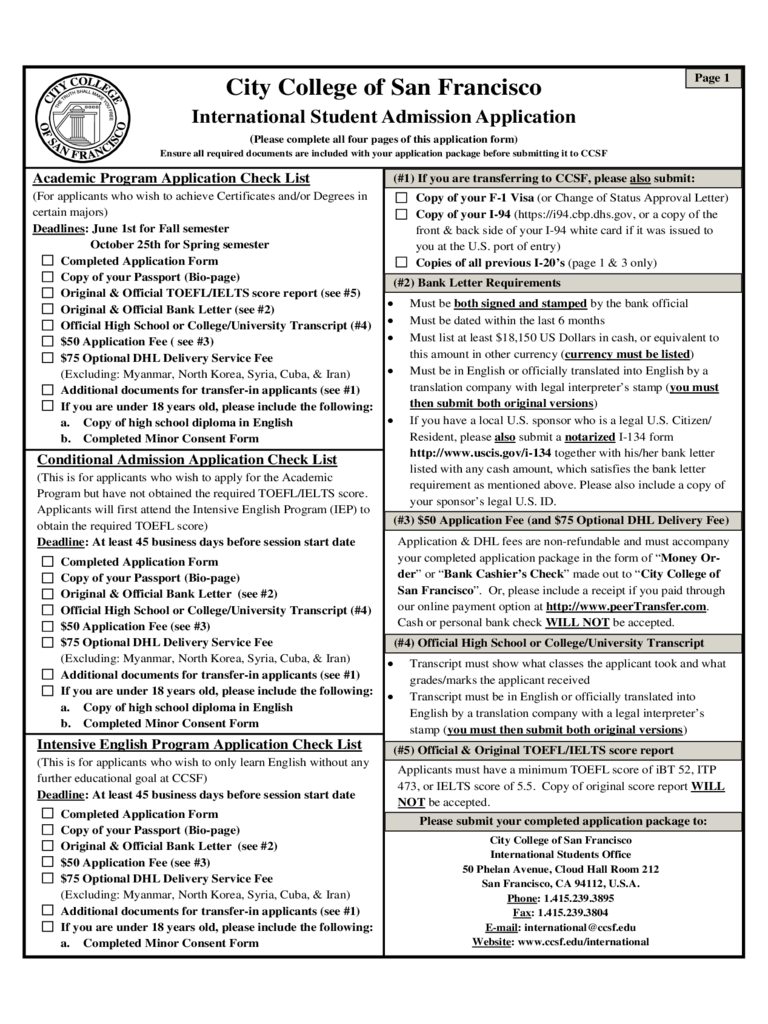 City College of San Francisco Application Form for International Students