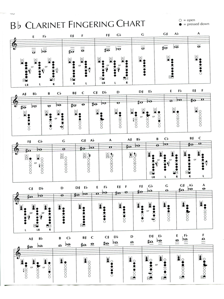 bb clarinet fingering chart d1