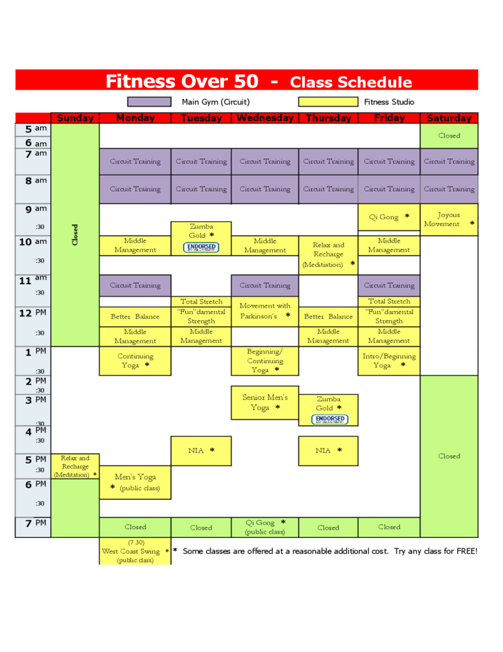 Fitness over 50 - Class Schedule