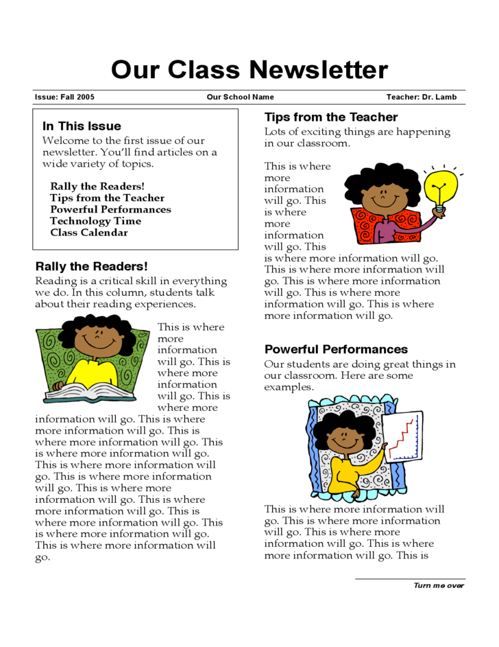 sample for class newsletter free download
